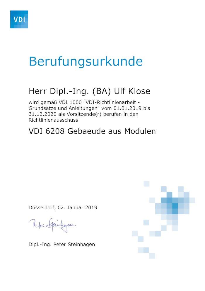 Berufung zum Vorsitzenden VDI Expertengremium Gebäude aus Modulen