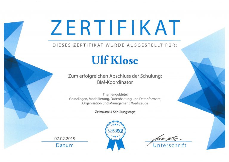 Zertifikat BIM-Koordinator
